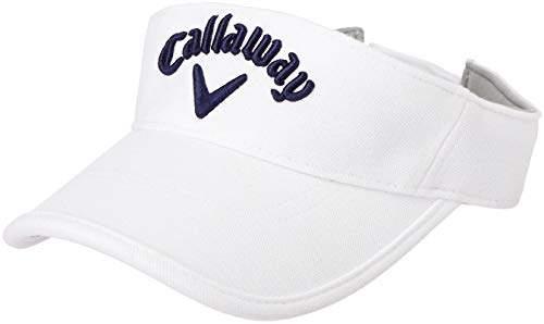 Callaway (キャロウェイ) - [キャロウェイ] [レディース] 定番 ロゴ入り サンバイザー (サイズ調整)[ 241-9984817 / PIQUE VISOR WOMENS ] 帽子 ゴルフ 030_ホワイト 日本 FR (FREE サイズ)